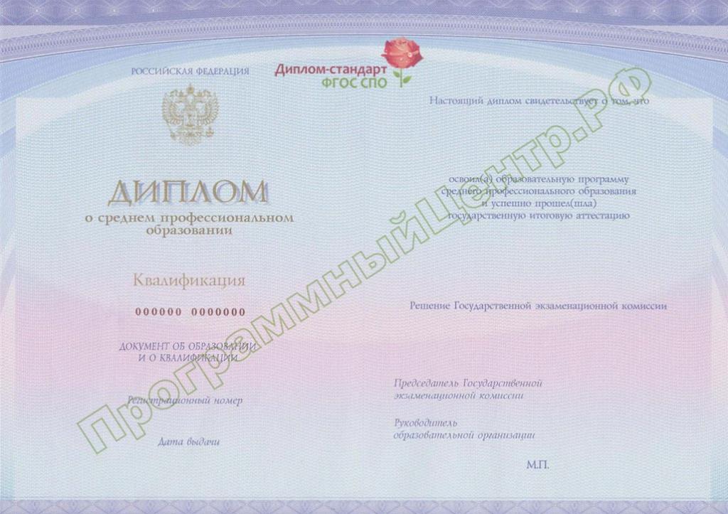 Диплом стандарт ФГОС СПО Бланки дипломов 2n m jpg